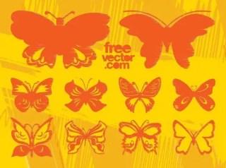 Grunge Butterflies Free Vector