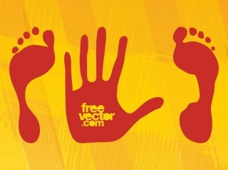 Hand and Feet Prints Free Vector