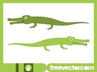 Happy Cartoon Crocodiles Free Vector