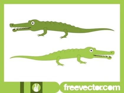 Happy Cartoon Crocodiles Free Vector