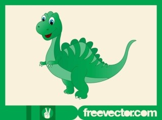 Happy Cartoon Dinosaur Free Vector