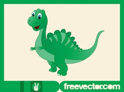 Happy Cartoon Dinosaur Free Vector