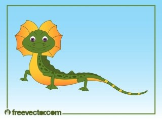 Happy Cartoon Lizard Free Vector