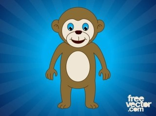 Happy Cartoon Monkey Free Vector