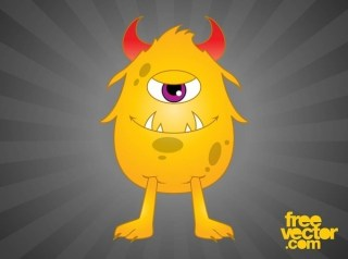 Happy Cartoon Monster Free Vector