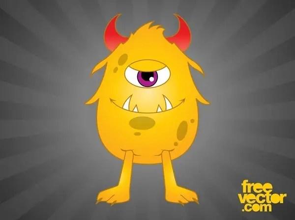Happy Cartoon Monster Free Vector