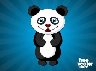Happy Cartoon Panda Free Vector