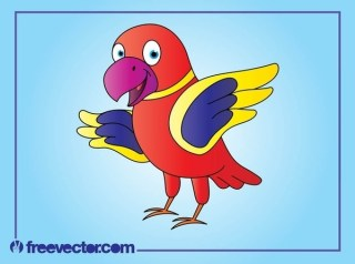Happy Cartoon Parrot Free Vector