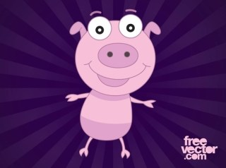 Happy Cartoon Pig Free Vector