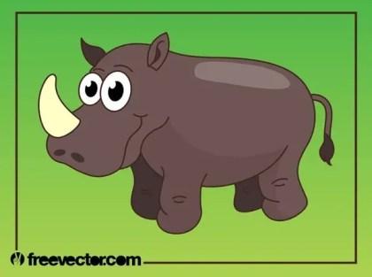 Happy Cartoon Rhino Free Vector