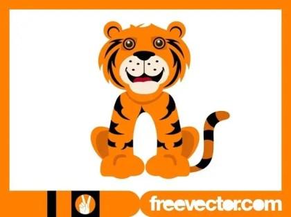 Happy Cartoon Tiger Free Vector
