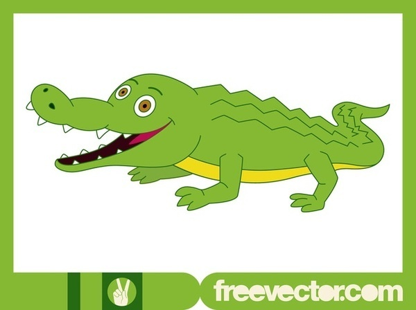 Happy Crocodile Free Vector