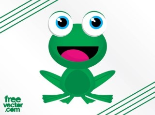 Happy Frog Character Free Vector