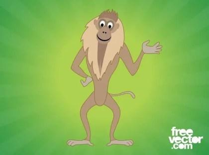 Happy Monkey Cartoon Character Free Vector
