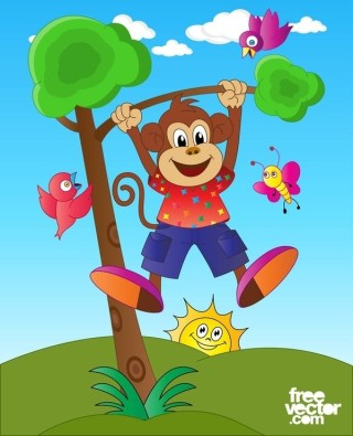 Happy Monkey Character Free Vector