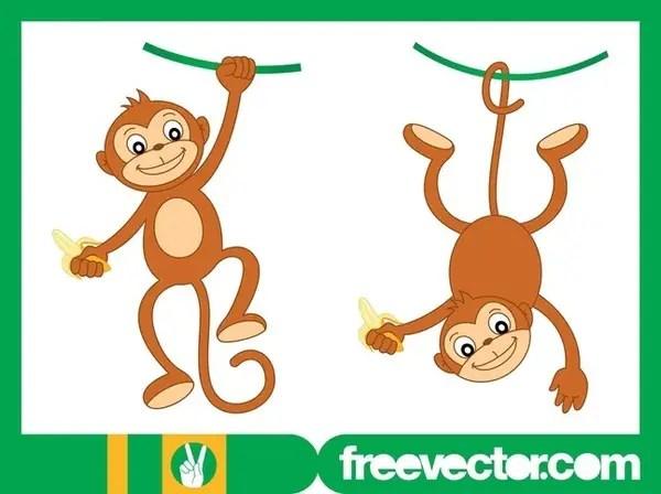 Happy Monkey Characters Free Vector