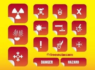 Hazard Stickers s Free Vector