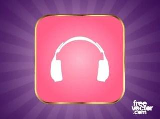 Headphones Button Free Vector