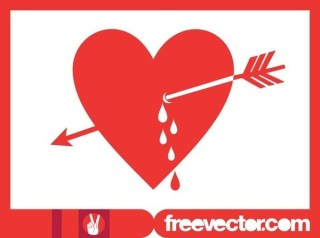 Heart and Arrow Free Vector