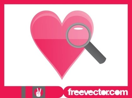 Heart and Magnifying Glass Free Vector