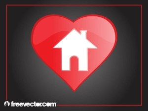 Heart Home Icon Free Vector