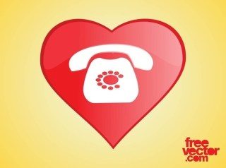 Heart Phone Icon Free Vector