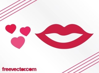 Hearts and Lips Free Vector