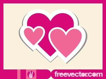 Hearts Sticker Free Vector