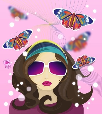 Hippie Girl Free Vector