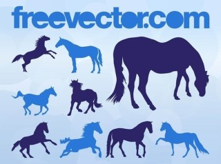 Horse Silhouettes s Free Vector