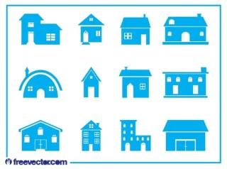 House Icon Set Free Vector