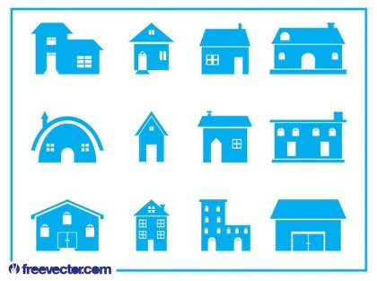 House Icon Set Free Vector