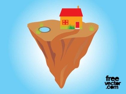 House On Floating Rock Free Vector