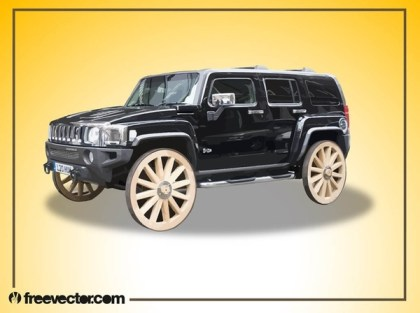 Hummer With Wooden Wheels Free Vector