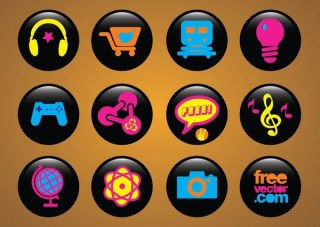 Icons Buttons Free Vector
