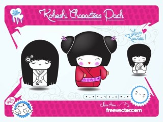 Japanese Dolls Pack Free Vector
