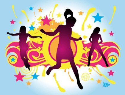 Jumping Party Girl Free Vector