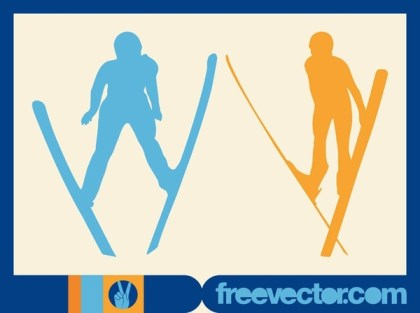Jumping Skiers Free Vector