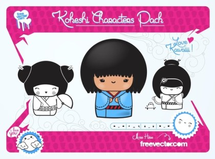 Kawaii Dolls Free Vector