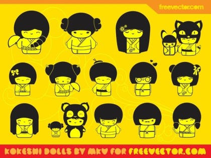 Kawaii Dolls s Free Vector