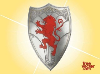 Knight Shield with Lion Free Vector
