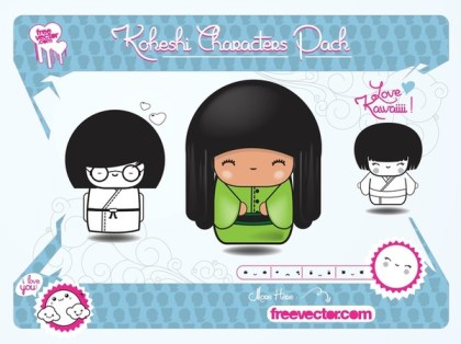 Kokeshi Characters Free Vector