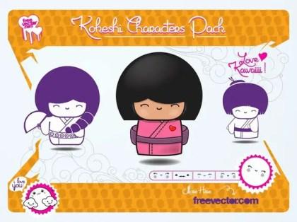 Kokeshi Dolls s Free Vector