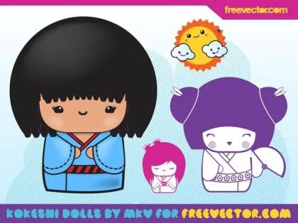 Kokeshi Illustrations Free Vector