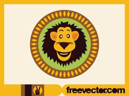 Lion Button Free Vector