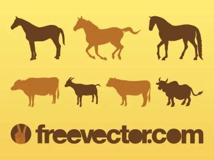 Livestock Animals Silhouettes Free Vector