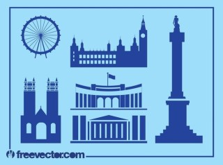 London Landmarks Silhouettes Free Vector
