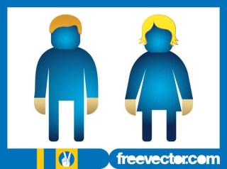 Man and Woman Icons Free Vector