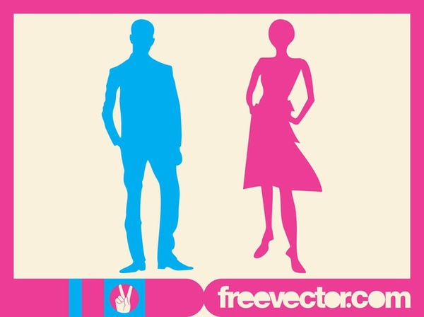 Man and Woman Silhouettes Free Vector