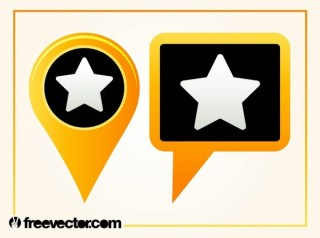 Map Pointers With Star Free Vector